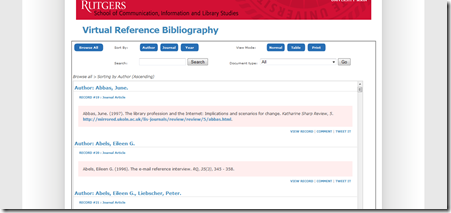 Virtual Reference Bibliography
