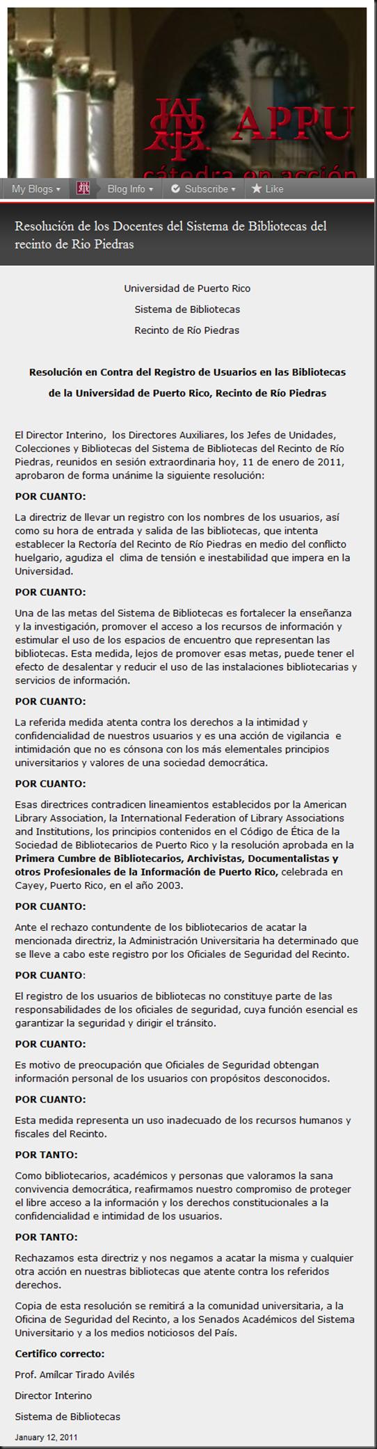 Resolución de los Docentes del Sistema de Bibliotecas del recinto de Rio Piedras « APPU…cátedra en acción