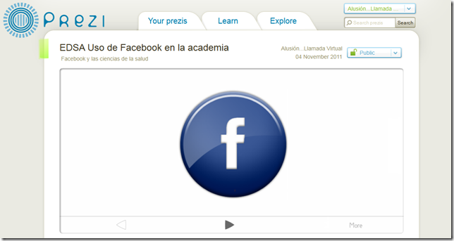 EDSA Uso de Facebook en la academia by Alusión...Llamada Virtual on Prezi 2011-11-04 04-57-03